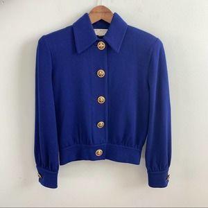 St. John   Blue Embellished Knit Sweater Cardigan
